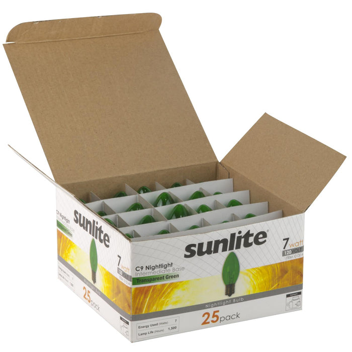 25 Pack Sunlite 7 Watt C9 Colored Night Light, Intermediate Base, Transparent Green