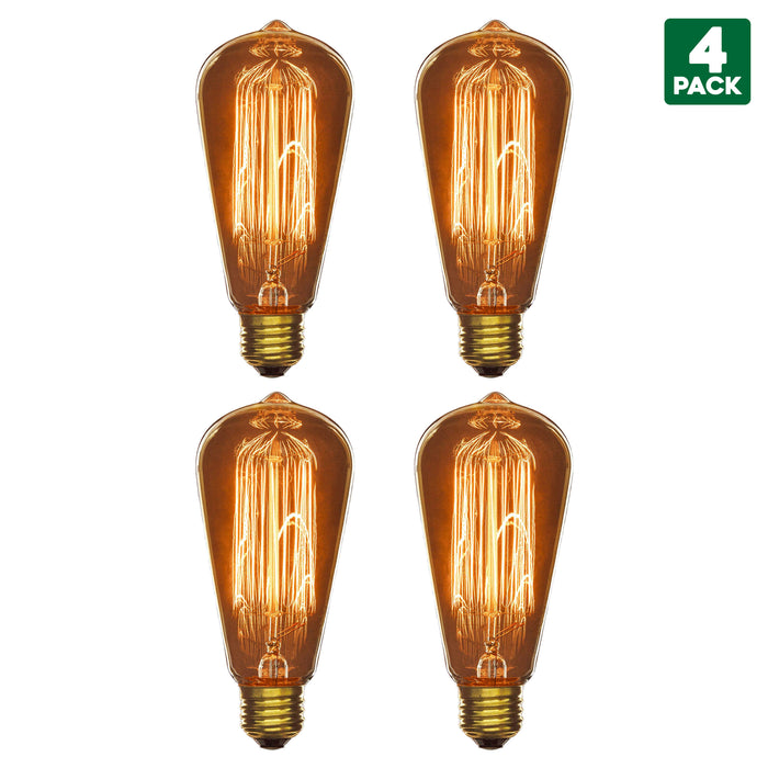 Sunlite 60 Watt Antique Edison Style S19 Incandescent Bulb, Medium Base (E26), Smoke Finish, Warm White 3200K, Vintage Decor, Dimmable