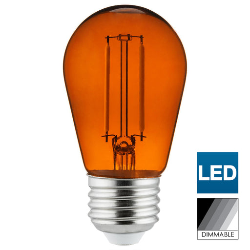 Sunlite LED Transparent Orange Colored S14 Medium Base (E26) Bulb - Parties, Decorative, and Holiday 15,000 Hours Average Life