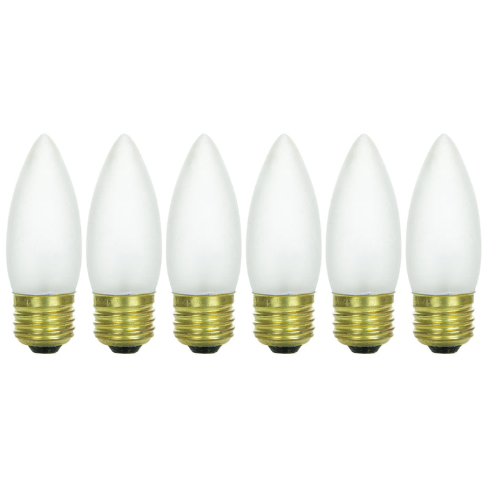 Sunlite 40 Watt Torpedo Tip Chandelier , Medium Base, Frost