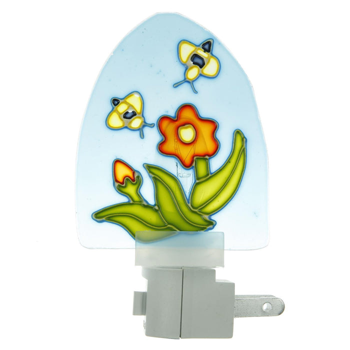 Sunlite E110 Colored Stained Glass Decorative Night Light, Blue