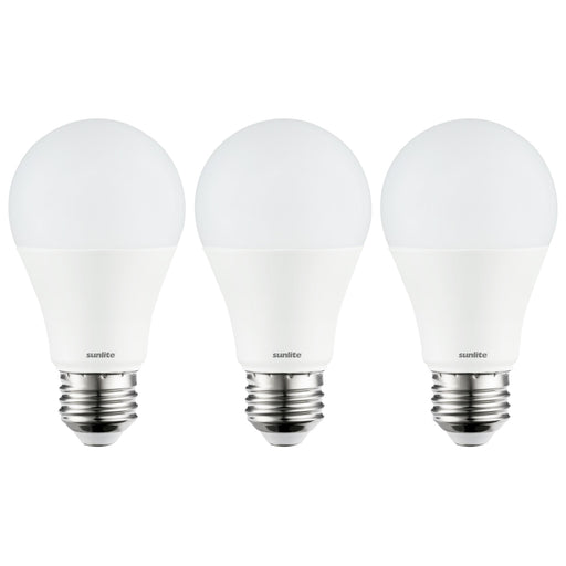 Sunlite 80862-SU LED A19 Light Bulb, Non-Dimmable 11 Watt (75W Equivalent), 1100 Lumens, Medium (E26) Base, UL Listed, 40K - Cool White 3 Pack