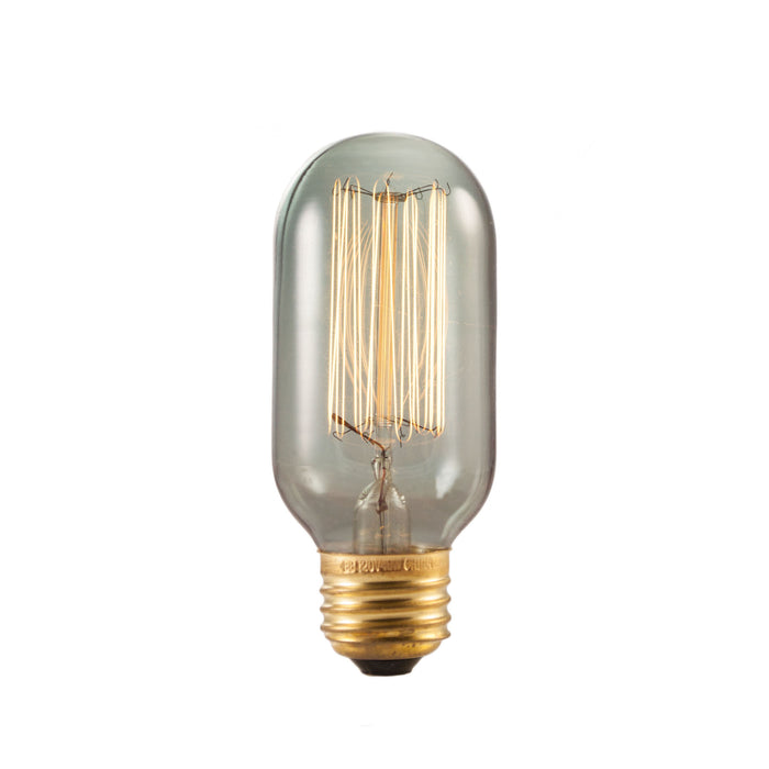 Bulbrite NOS40T14/SQ/SMK 40 Watt Nostalgic Edison T14 Bulb, Vintage Thread Filament, Medium Base, Smoke Finish