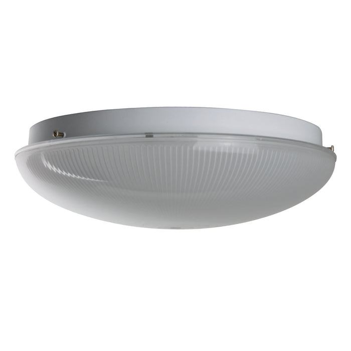 "14"" 2 Lamp Fluorescent Circline Fixture, White Finish, Ribbed Frosted Lens"