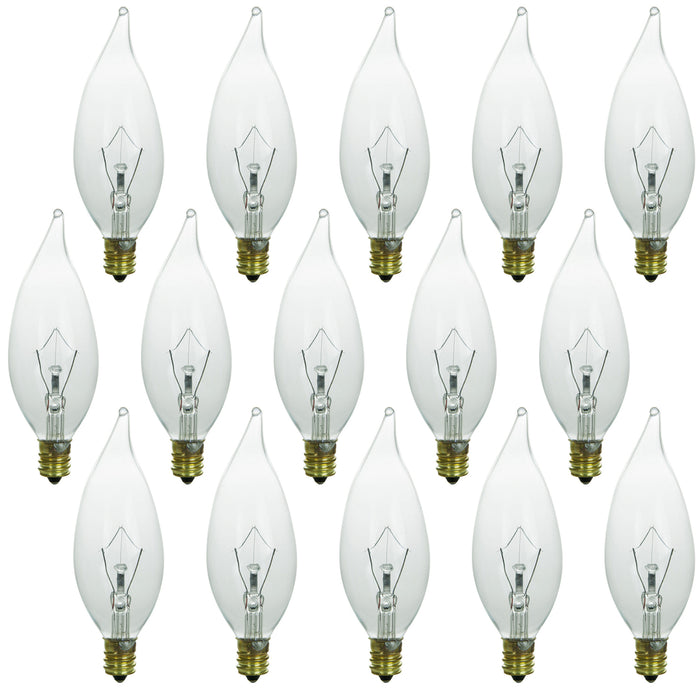 Sunlite 40 Watt Flame Tip Chandelier, Candelabra Base, Clear