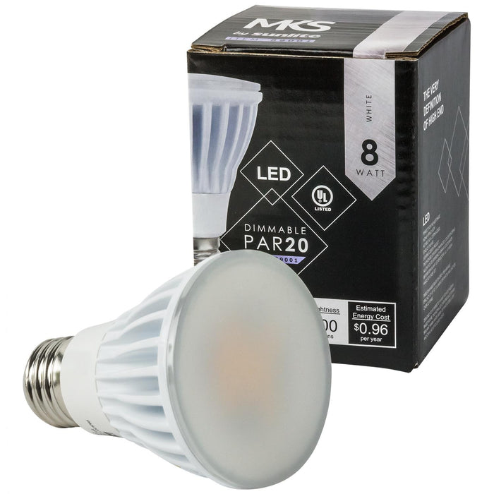 Sunlite PAR20 High Lumen Reflector, 600 Lumens, Medium Base Light Bulb, White