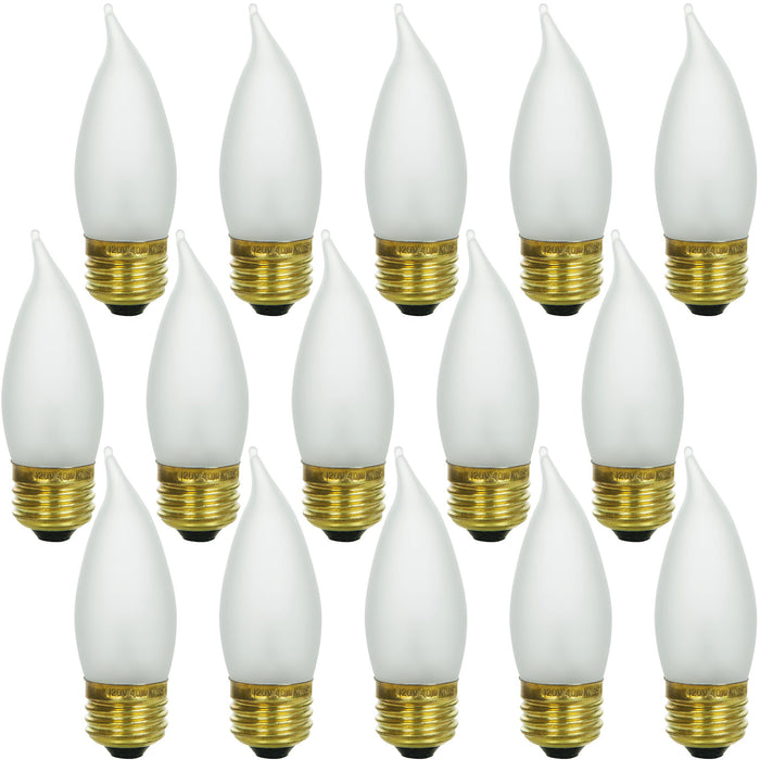 Sunlite 25 Watt Flame Tip Chandelier, Medium Base, Frost