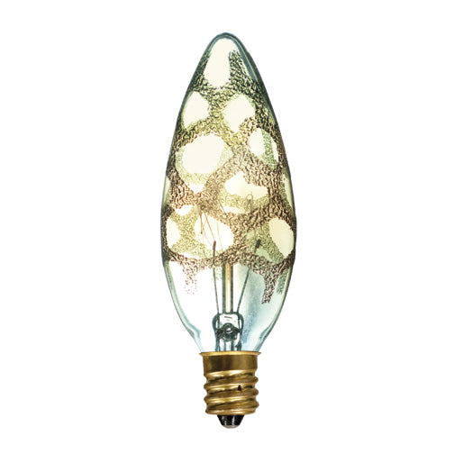 Bulbrite 25B10/MAR Crystal Collection 25 Watt Incandescent B10 Chandelier Bulb, Marble Finish, Candelabra Base, Amber