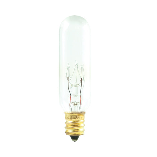 Bulbrite 25T6 25 Watt Incandescent Appliance and Amusement T6 Tubular Bulb, Candelabra Base, Clear