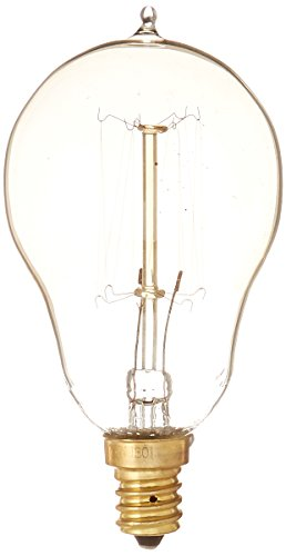 Bulbrite NOS25A15/SQ/E12 25 Watt Nostalgic Incandescent Edison A15, Vintage Thread Filament, Candelabra Base, Antique Finish