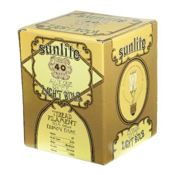 Sunlite 40 Watt Antique Vintage Style G40, Medium Base, Smoke
