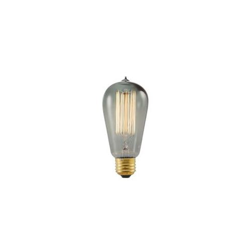 Bulbrite NOS40-1910/SMK 40 Watt Nostalgic Edison ST18 Bulb, Vintage Thread Filament, Medium Base, Smoke Finish
