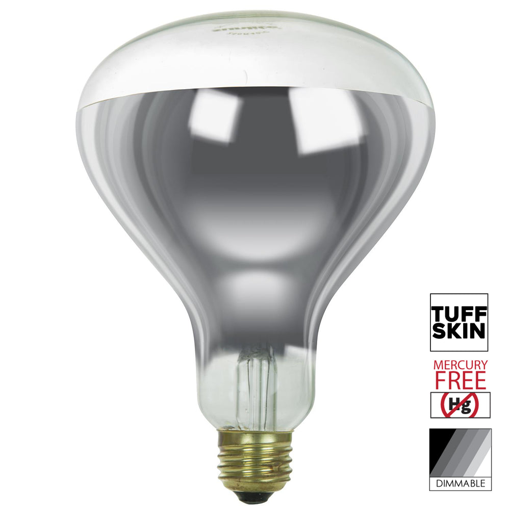 Sunlite 375 Watt R40 Incandescent Heat Lamp Bulb, Medium Base, Clear, Dimmable, With Tuff Skin Shatter Resistant, Ideal for food preparation areas, saunas, light therapy, salons, bathrooms, animal & reptile encosures, brooders and more