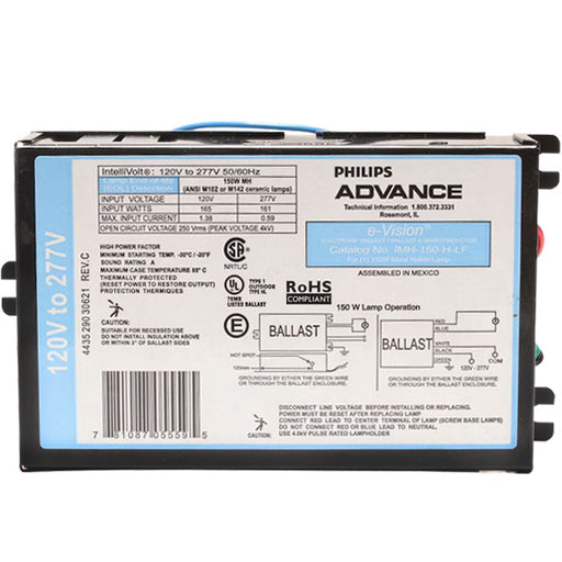 Advance IMH150HLFM - 20-150 Watt - Metal Halide Ballast ANSI M102/142 - Power Factor 90% - 120-277 Volt - Side Leads With Mounting Feet