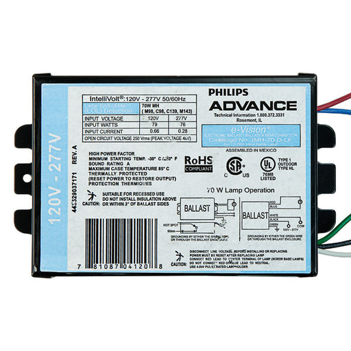 Advance IMH-70-D-LF - 70 Watt - Electronic Metal Halide Ballast ANSI M98, M139 or M143 - 120-277 Volt - Power Factor 90% - Max. Temp Rating 185 Deg. F - Side Leads With Mounting Feet