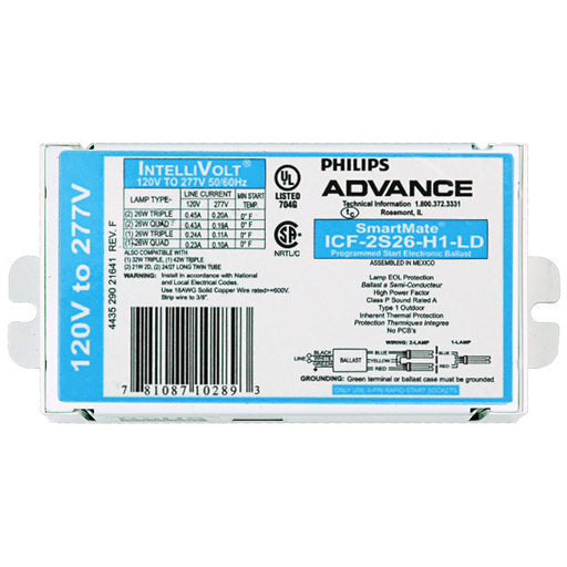 Advance SmartMate ICF-2S26-H1-LD (2) Lamp - 26 Watt CFL - 120-277 Volt - Programmed Start - 1.0 Ballast Factor - Advance SmartMate ICF-2S26-H1-LD