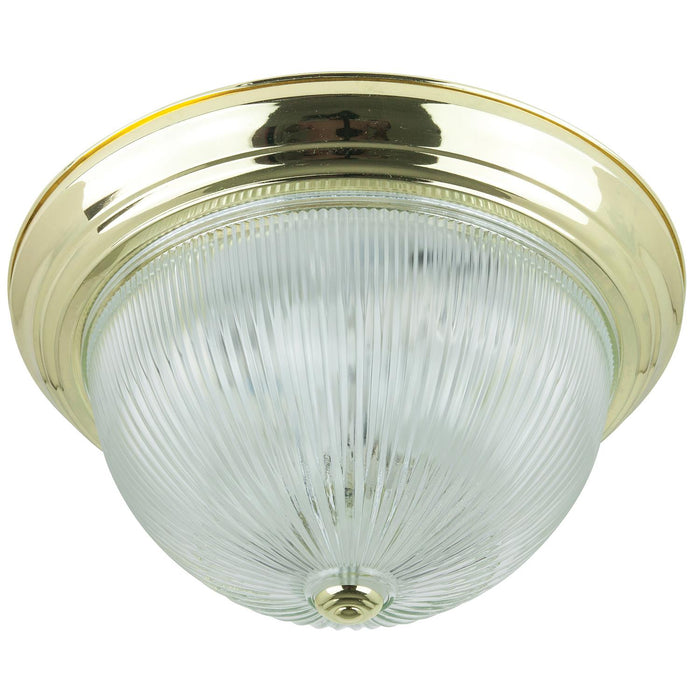 "Sunlite 15"" Decorative Dome Ceiling Fixture, Polished Brass Finish, White Lens"