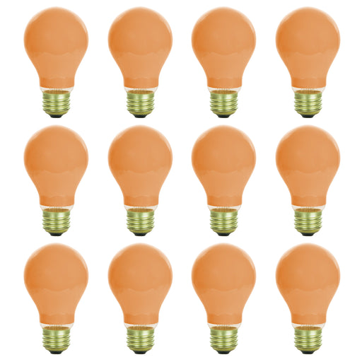 12 Pack of Sunlite 25 watt Ceramic Orange Colored Incandescent Light Bulb - Parties, Decorative, and Holiday 1,250 Average Life Hours