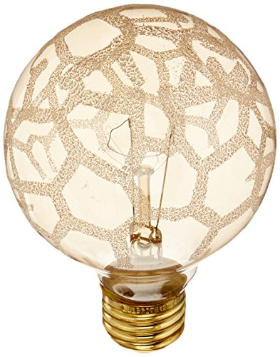 Bulbrite 40G25/MAR Crystal Collection 40 Watt Incandescent G25 Globe, Marble Finish, Medium Base, Amber