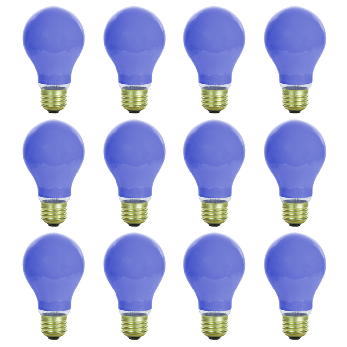 Sunlite 40 Watt A19 Colored, Medium Base, Ceramic Blue