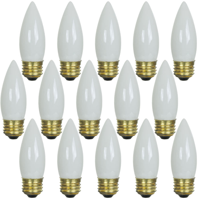 Sunlite 60 Watt Torpedo Tip Chandelier , Medium Base, White