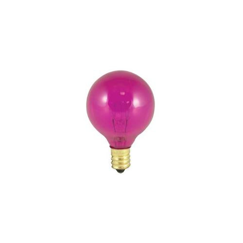 Bulbrite 10G12P 10 Watt Incandescent G12 Globe, Candelabra Base, Transparent Pink