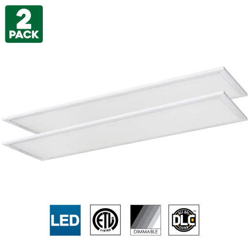 Sunlite LED Light Panel, 1x4 Foot, 40 Watt, 3500K Warm White, 3500 Lumens, Dimmable, DLC listed, 50000 Hours Average Life Span, 2-Pack