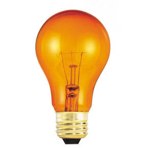 Bulbrite 25A/TO 25 Watt Incandescent A19 Party Bulb, Medium Base, Transparent Orange