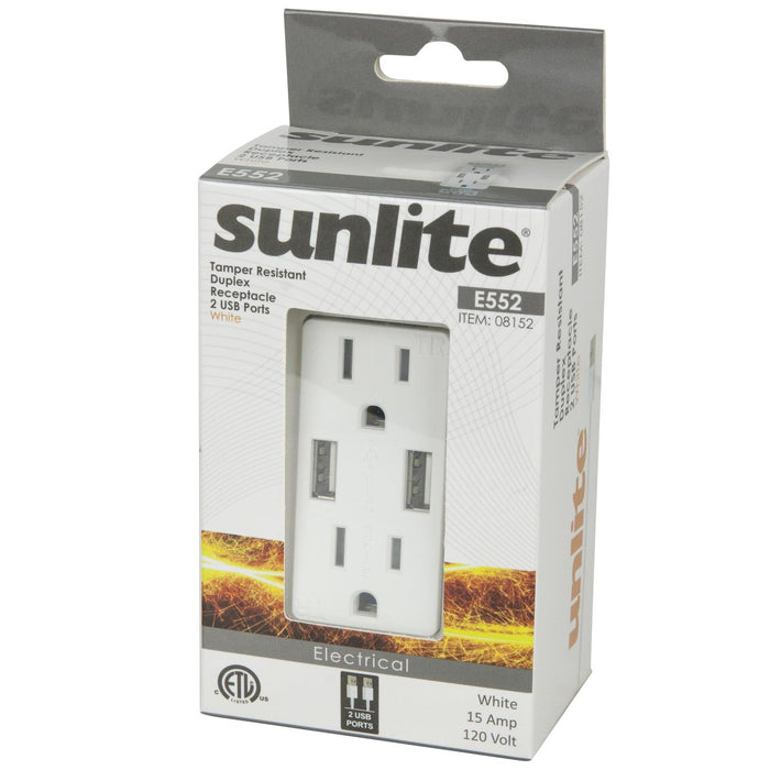 Sunlite E552 Dual USB Charger with 15A Duplex Tamper Resistant Recteptacle