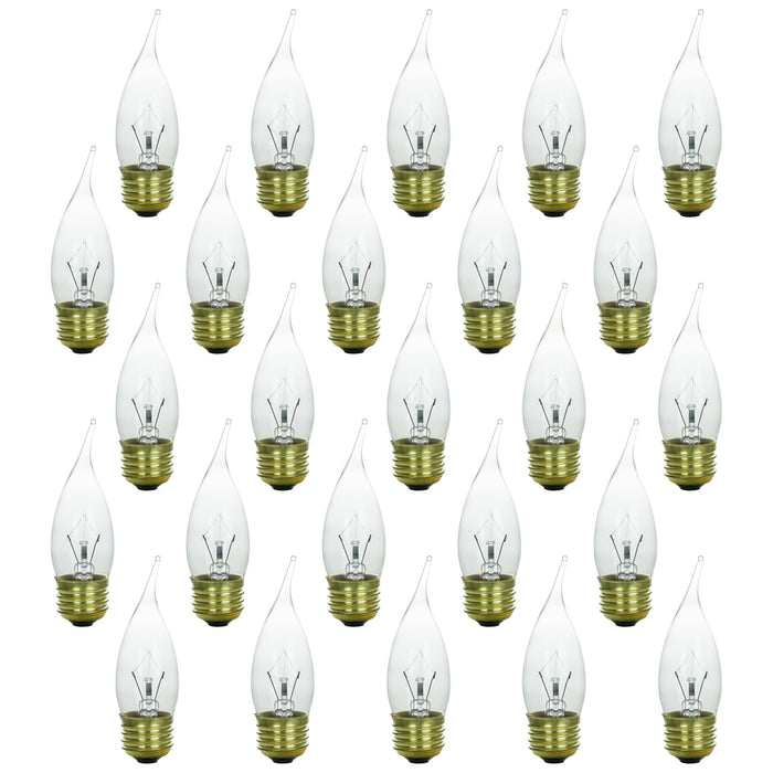 Sunlite 25 Watt Flame Tip Chandelier, Medium Base, Clear