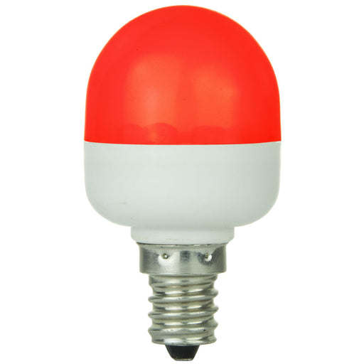 Sunlite T10 Tubular Indicator, Candelabra Base Light Bulb, Red