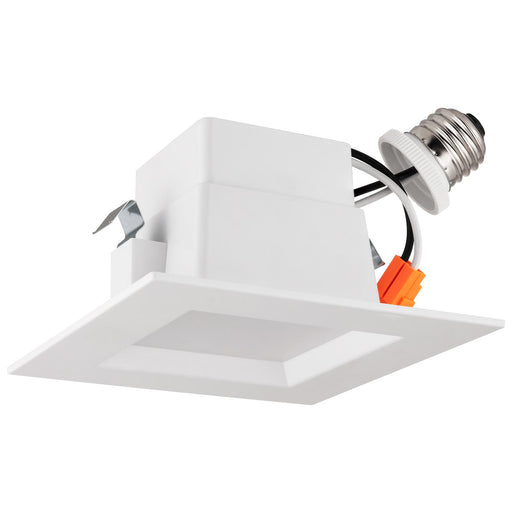 Sunlite LED Retrofit 4-Inch Square Recessed Downlight, Wet Location, Medium Base (E26), 10 Watt, 3000K Warm White