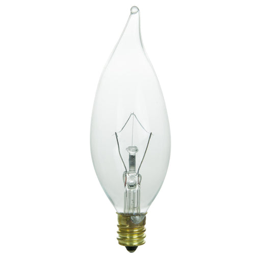 Sunlite 25 Watt Flame Tip Chandelier, Candelabra Base, Clear