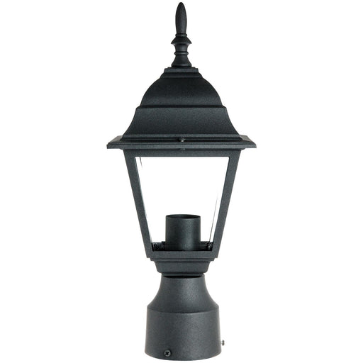 Sunlite Post Mount Decorative Outdoor Fixture, Black Powder Finish, Clear Beveled Glass