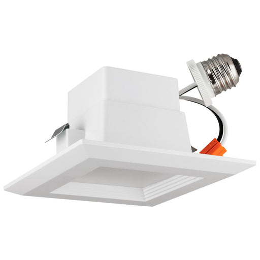 Sunlite LED Retrofit 4-Inch Square Recessed Downlight, Wet Location, Medium Base (E26), Dimmable, 10 Watt, 5000K Super White