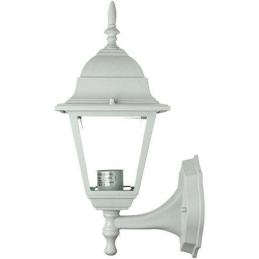 Sunlite Up-Facing Post Style Outdoor Fixture, White Powder Finish, Clear Beveled Glass