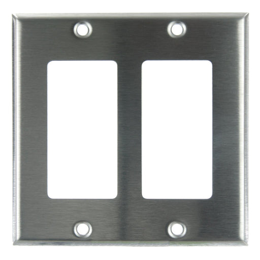 Sunlite E302/S 2 Gang Decorative Switch and Receptacle Plate, Steel
