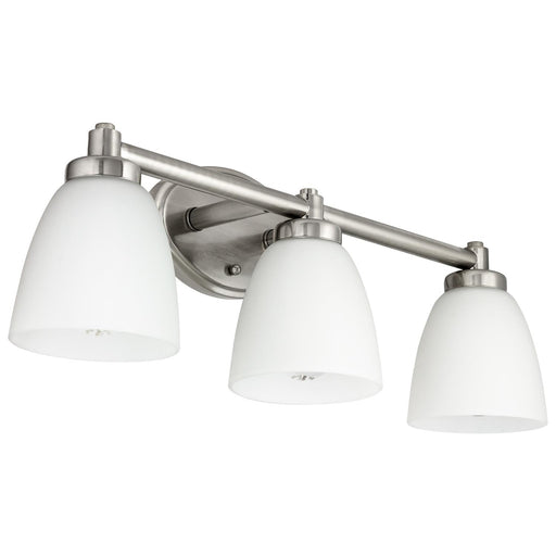 Sunlite 45059-SU Vanity Fixture Three Light 24 Inch Bar,  Bell Shaped Frosted Glass , Brushed Nickel Finish