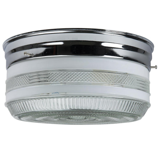 "Sunlite 10"" Drum Ceiling Fixture, Chrome Finish, Semi-Frosted Glass"