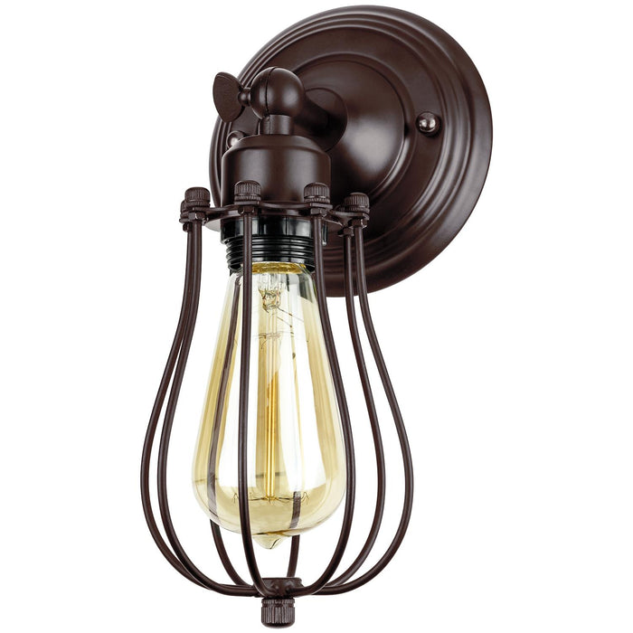 Sunlite Cage Wall Sconce Vintage Antique Style Fixture, Matte Brown Finish