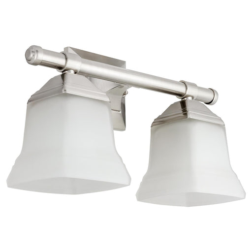 Sunlite 46062-SU Vanity Fixture Two Light 14 Inch , Bell Shaped Frosted Glass, Brushed Nickel Finish