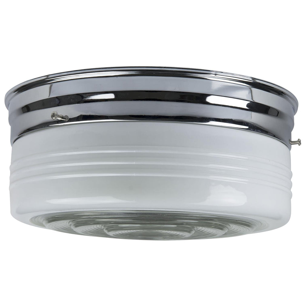 "Sunlite 10"" Energy Saving Drum Fixture, Chrome Finish, Semi Frosted Drum"