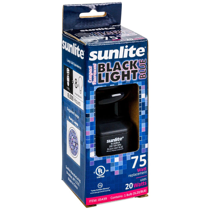 Sunlite 20 Watt Blacklight Spiral, Medium Base, BLB