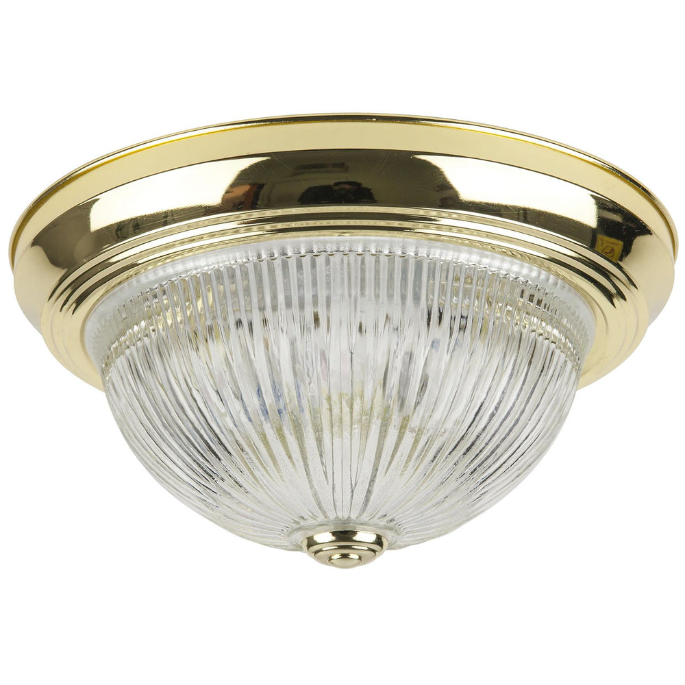 "Sunlite 11"" Energy Saving Dome Fixture, Polished Brass Finish, Clear Glass"