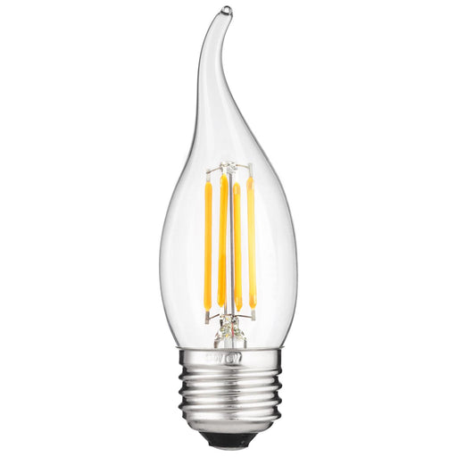 Sunlite 80421 LED Filament CA11 Flame Tip Chandelier 4-Watt (40 Watt Equivalent) Clear Dimmable Light Bulb, 2700K - Warm White
