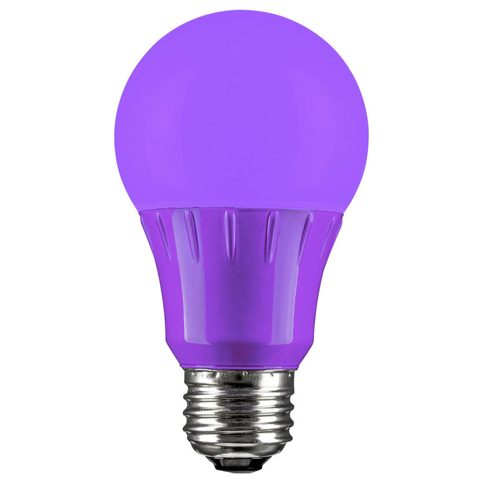 Sunlite 80132 Purple LED A19 3 Watt Medium Base 120 Volt UL Listed LED Light Bulb, last 25,000 Hours