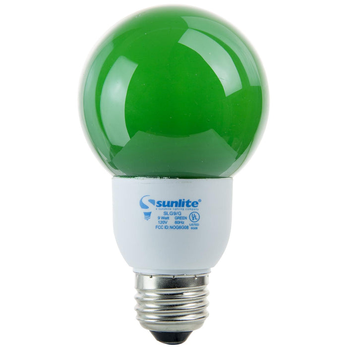 Sunlite 9 Watt Colored Globe, Medium Base, Green