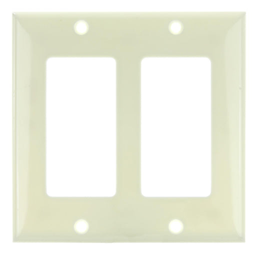 Sunlite E302/A 2 Gang Decorative Switch and Receptacle Plate, Almond