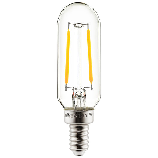 Sunlite 80501-SU LED Filament Style T8 Edison Chandelier Light Bulb, 1.8 Watts (20W Equivalent), Candelabra Base (E12), Dimmable, 22K - Amber 1 Pack