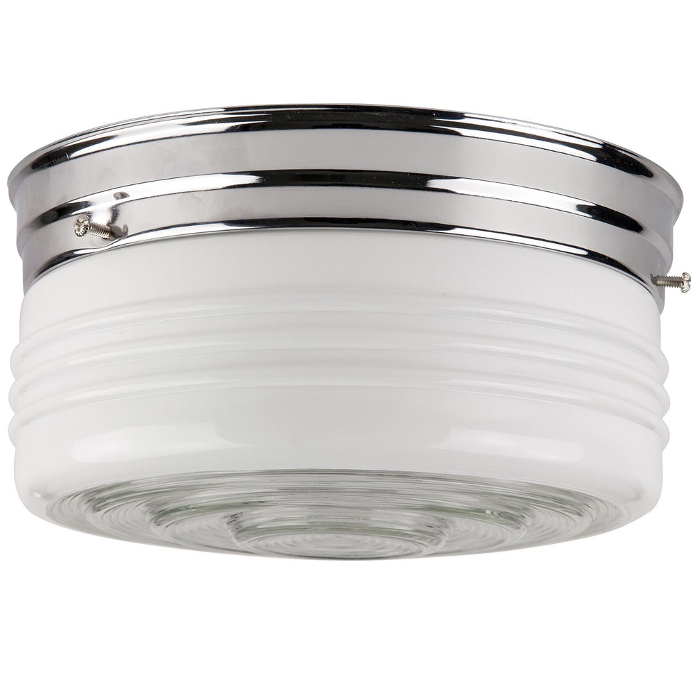"Sunlite 8"" Energy Saving Drum Fixture, Chrome Finish, Semi Frosted Drum"